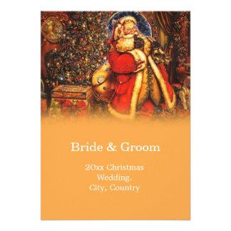 Vintage Christmas Santa Claus   winter wedding Custom Invite