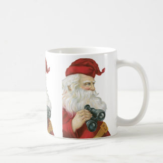 Vintage Christmas, Santa Claus with Binoculars Coffee Mug