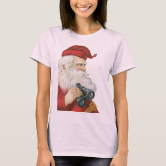 Vintage Christmas, Santa Claus with Binoculars T-Shirt