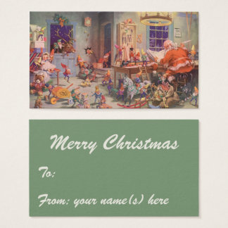 Vintage Christmas, Santa Claus with Elves Workshop Business Card