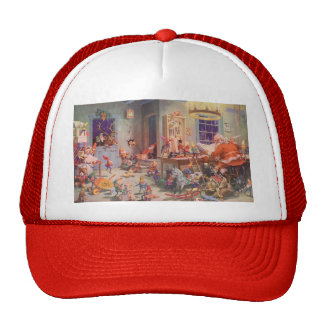 Vintage Christmas, Santa Claus with Elves Workshop Cap