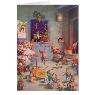 Vintage Christmas, Santa Claus with Elves Workshop Card