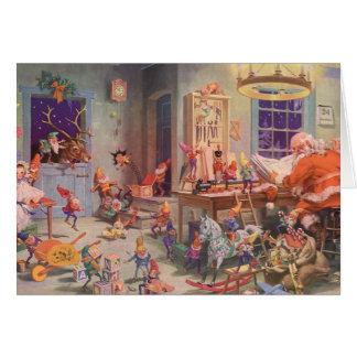 Vintage Christmas, Santa Claus with Elves Workshop Greeting Card