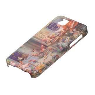 Vintage Christmas, Santa Claus with Elves Workshop iPhone 5 Cases