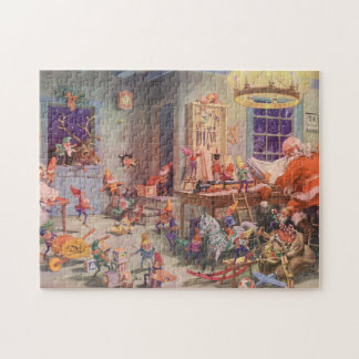 Vintage Christmas, Santa Claus with Elves Workshop Jigsaw Puzzle