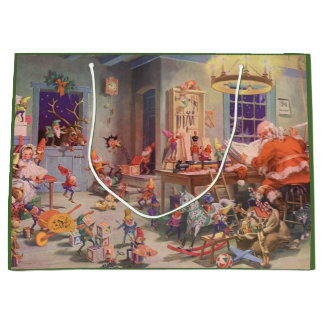 Vintage Christmas, Santa Claus with Elves Workshop Large Gift Bag