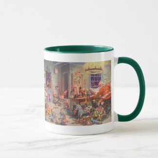 Vintage Christmas, Santa Claus with Elves Workshop Mug