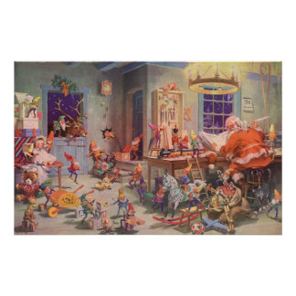 Vintage Christmas, Santa Claus with Elves Workshop Poster