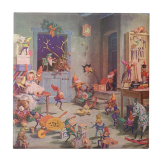 Vintage Christmas, Santa Claus with Elves Workshop Small Square Tile