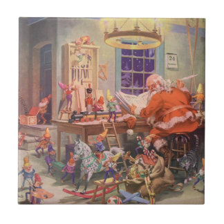 Vintage Christmas, Santa Claus with Elves Workshop Tile