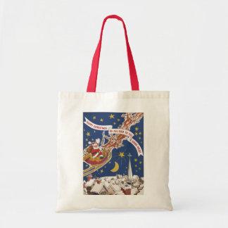 Vintage Christmas Santa Claus With Flying Reindeer