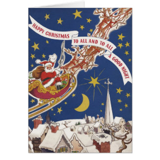 Vintage Christmas Santa Claus With Flying Reindeer Card
