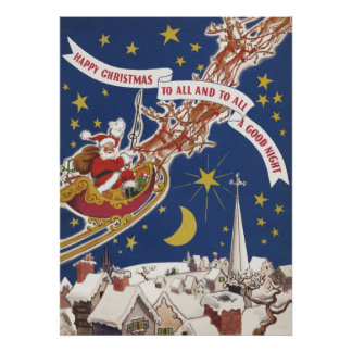 Vintage Christmas Santa Claus With Flying Reindeer Poster