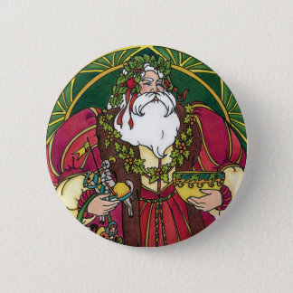 Vintage Christmas, Santa Claus with Holly Leaves 6 Cm Round Badge