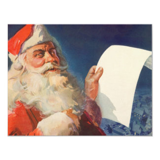 Vintage Christmas Santa Claus with List Invitation