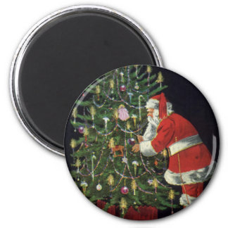 Vintage Christmas, Santa Claus with Presents 6 Cm Round Magnet