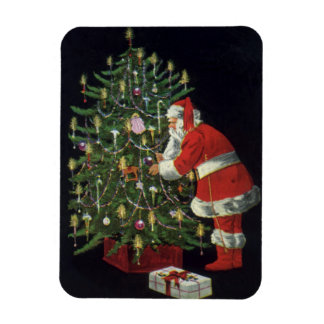 Vintage Christmas, Santa Claus with Presents Rectangular Photo Magnet