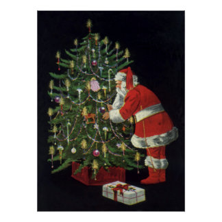 Vintage Christmas, Santa Claus with Presents Poster