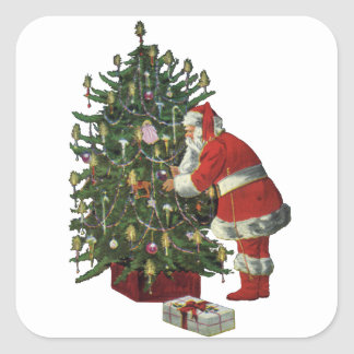 Vintage Christmas, Santa Claus with Presents Square Sticker
