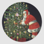 Vintage Christmas, Santa Claus with Presents Classic Round Sticker