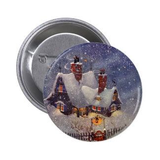 Vintage Christmas, Santa Claus Workshop North Pole 6 Cm Round Badge