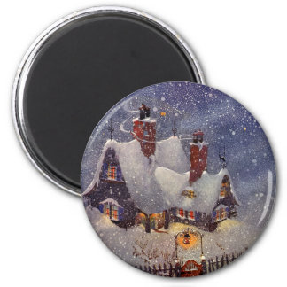 Vintage Christmas, Santa Claus Workshop North Pole 6 Cm Round Magnet