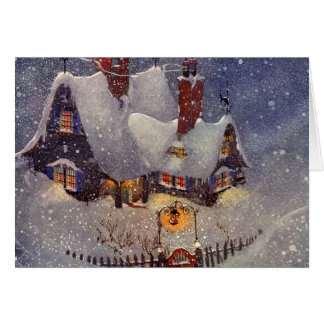 Vintage Christmas, Santa Claus Workshop North Pole Card