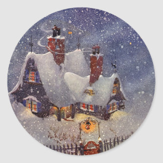 Vintage Christmas, Santa Claus Workshop North Pole Classic Round Sticker