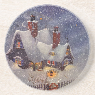Vintage Christmas, Santa Claus Workshop North Pole Coaster