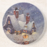 Vintage Christmas, Santa Claus Workshop North Pole Drink Coaster