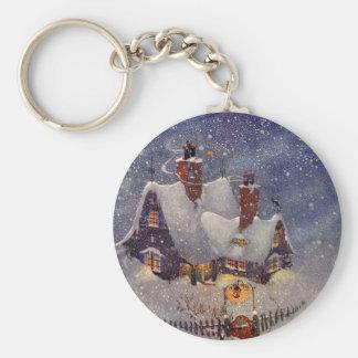Vintage Christmas, Santa Claus Workshop North Pole Basic Round Button Key Ring