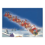 Vintage Christmas, Santa Flying Sleigh w Reindeer Announcement Card