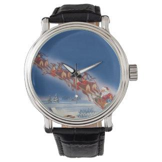 Vintage Christmas, Santa Flying Sleigh w Reindeer Watch