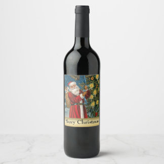 Vintage Christmas Santa Holiday drink label