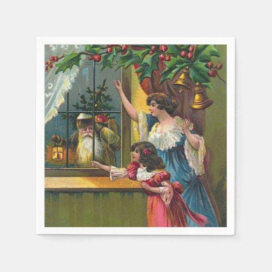 Vintage Christmas Santa Holiday paper napkins Disposable Serviette