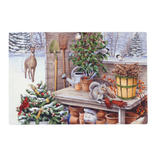 Vintage Christmas Santa Holiday Pattern Laminated Placemat