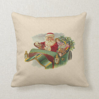 Vintage Christmas Santa in a Classic Antique Car Cushion