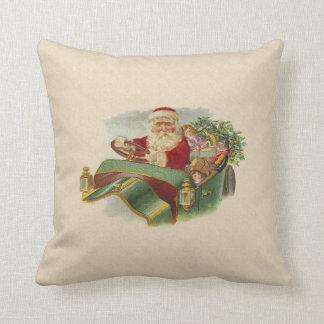 Vintage Christmas Santa in a Classic Antique Car Throw Pillow