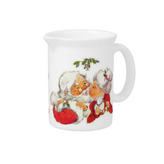 Vintage Christmas Santa Kissing Mrs Claus Pitcher