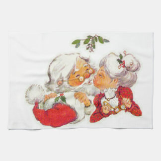 Vintage Christmas Santa Kissing Mrs Claus Tea Towel