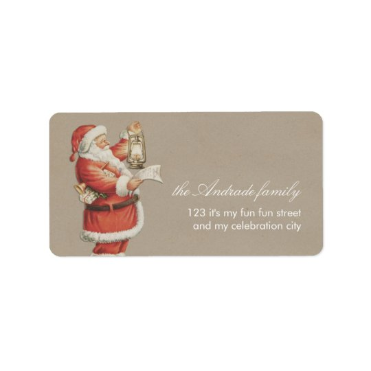 Vintage Christmas Santa Personalised Holiday Address Label