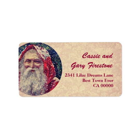 Vintage Christmas Santa Red Green Ecru Address Label