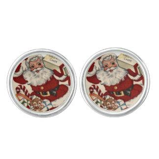 Vintage Christmas Santa silver cufflinks
