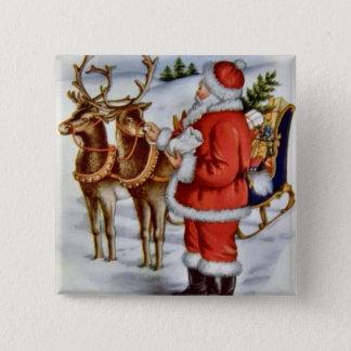 Vintage Christmas Santa Sleigh Reindeer 15 Cm Square Badge