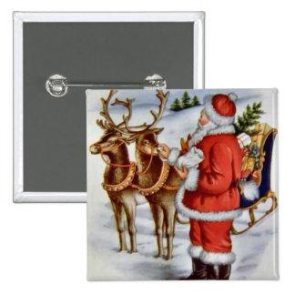 Vintage Christmas Santa Sleigh Reindeer Buttons