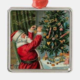 Vintage Christmas Santa Tree Decorating-Ornament Silver-Colored Square Decoration