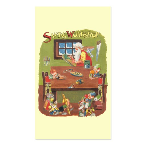 Vintage Christmas Santa with Elves in the Workshop Business Card Template