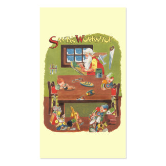 Vintage Christmas Santa with Elves in the Workshop Pack Of Standard Business Cards