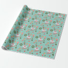 Vintage Christmas, Santa, wreath, animals Wrapping Paper