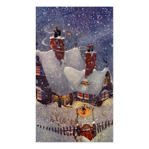 Vintage Christmas, Santa's Workshop at North Pole Business Card Templates